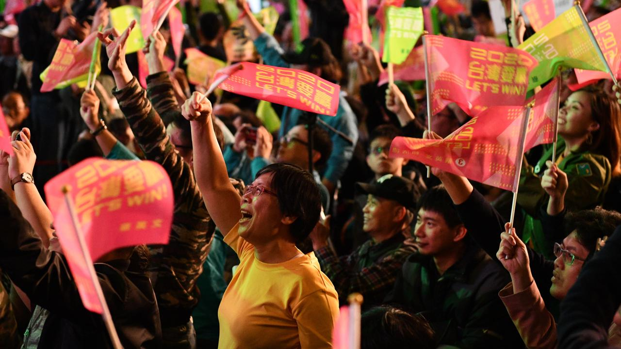 Supporters react after confirmation that Tsai Ing-Wen of the Democratic Progressive Party has been re-elected as President of Taiwan on January 11, 2020 in Taipei, Taiwan. Picture: Carl Court/Getty Images