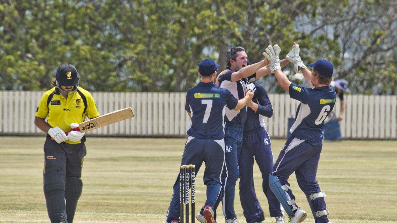 Victoria celebrates the wicket of Calum How. Photo: Nev Madsen