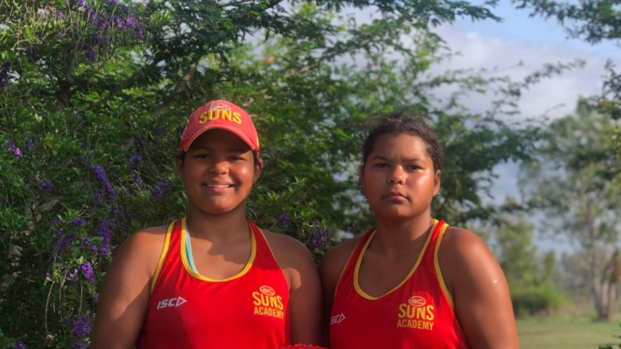Deakoda and Shakaya Costello have been selected for the Gold Coast Sun's development squad and hoped to encourage more girls to take up AFL. Image: Supplied