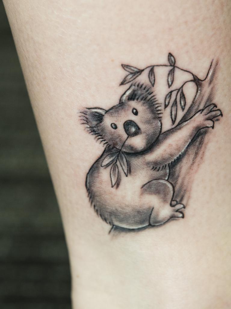 Tattoo artist Kym Hammond created this koala tattoo for Tonya Hayward. Friday, 10th Jan, 2020.