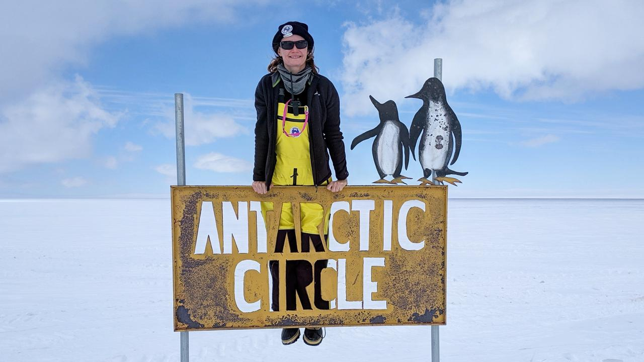 Casey Station doctor Natasha Behrendorff at the Antarctic Circle. Strictly Non Commercial, Once only, No archive, No sales.