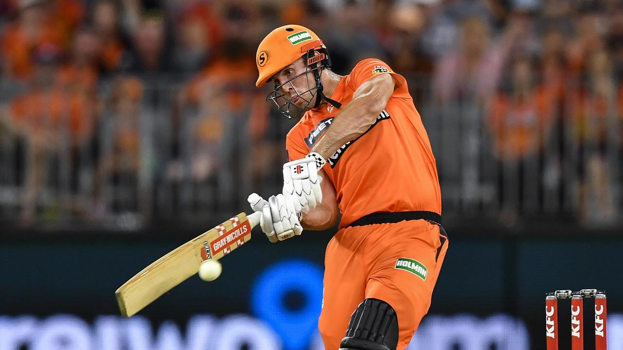 Mitch Marsh hits out during the Big Bash League match between the Perth Scorchers and Brisbane Heat at Optus Stadium. Picture: Getty Images