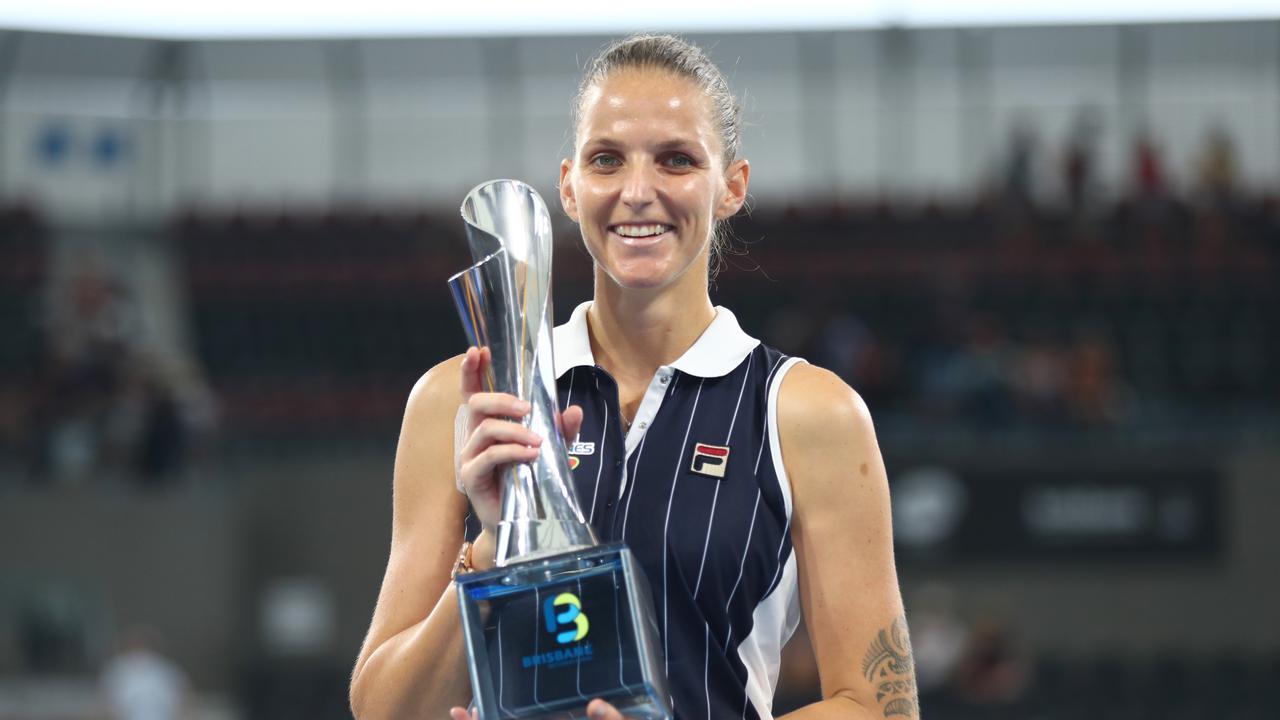 Karolina Pliskova with the Brisbane International trophy. Picture: Chris Hyde/Getty