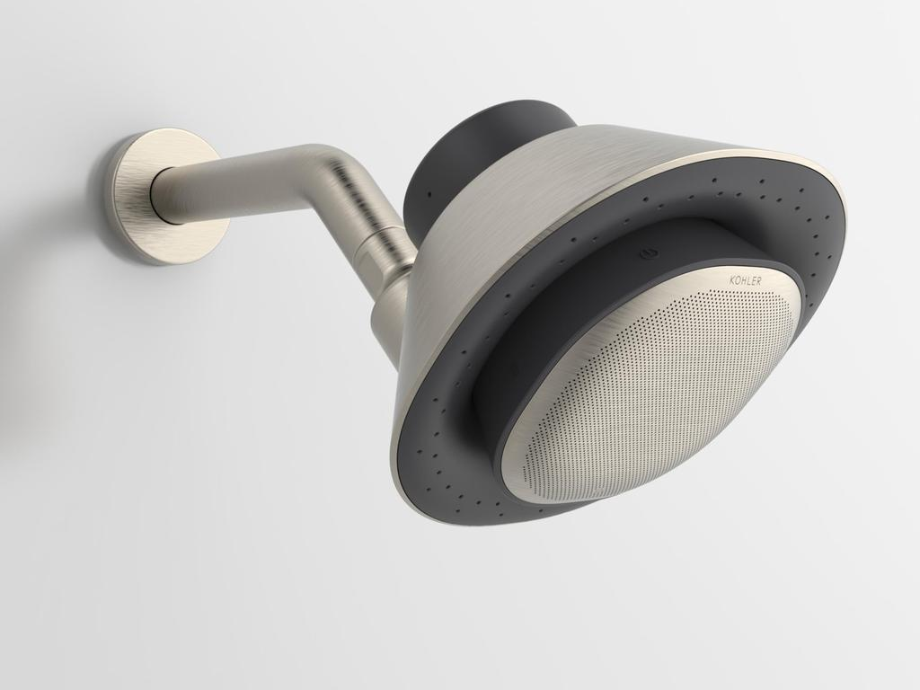 The latest Kohler shower head comes with a built-in speaker and access to voice assistants. Picture: Supplied