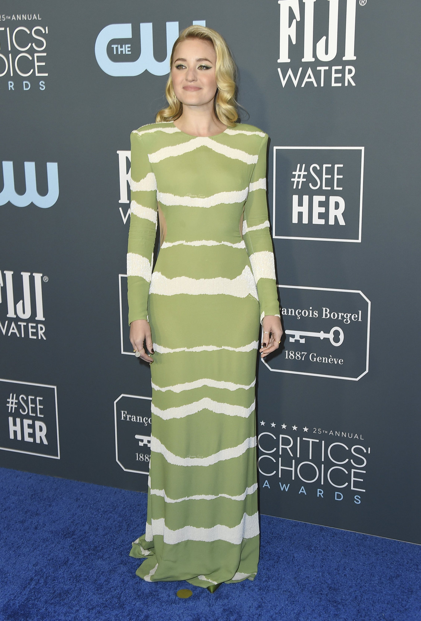 AJ Michalka arrives at the 25th annual Critics' Choice Awards at the Barker Hangar in Santa Monica, Calif.