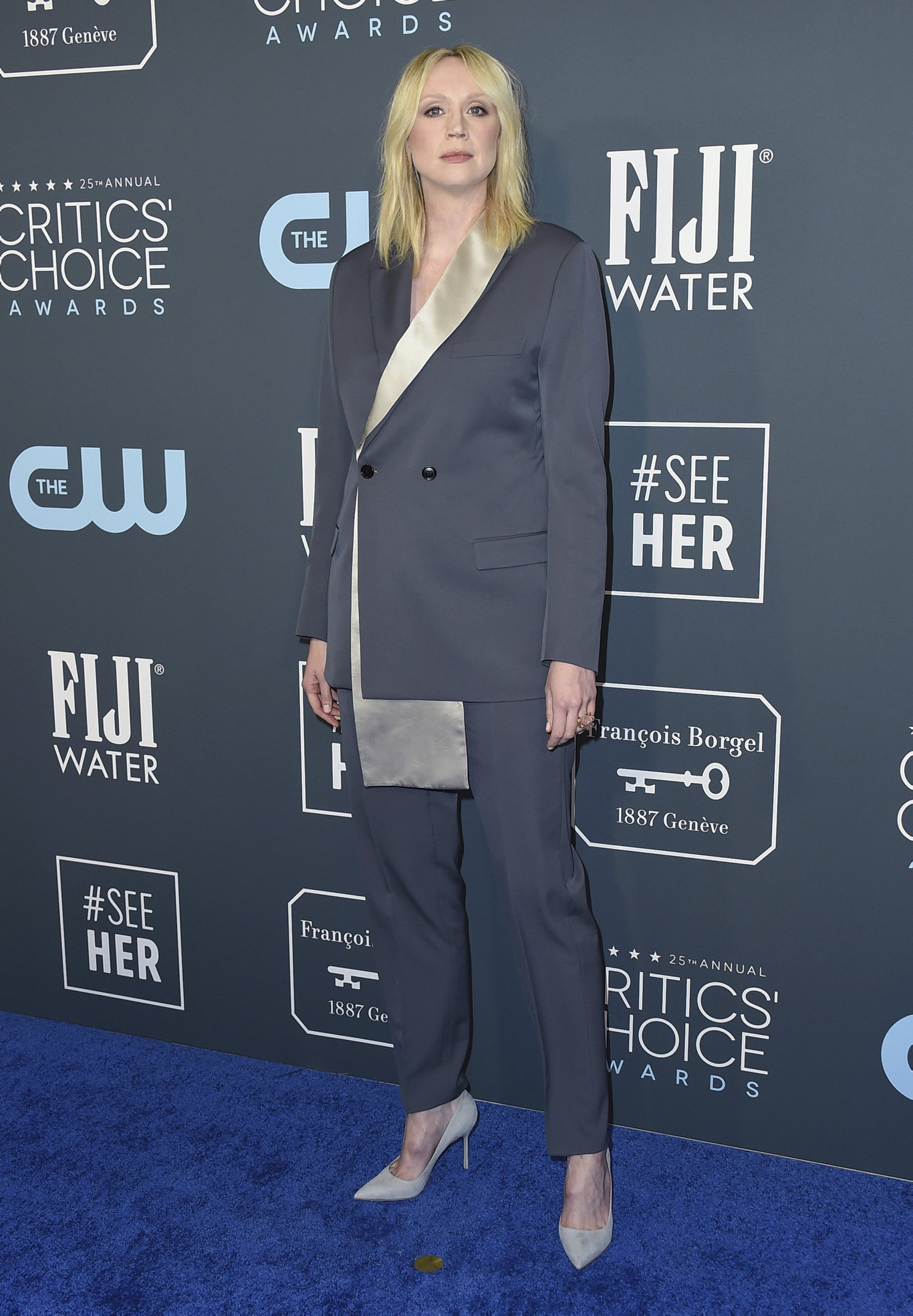 Gwendoline Christie arrives at the 25th annual Critics' Choice Awards at the Barker Hangar in Santa Monica, Calif.