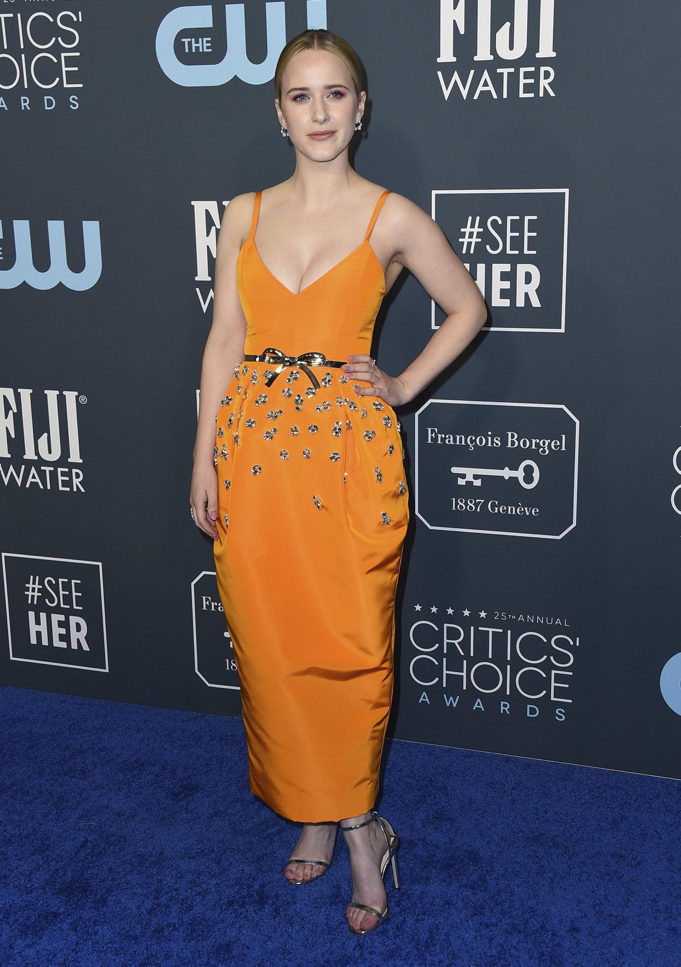 Rachel Brosnahan arrives at the 25th annual Critics' Choice Awards at the Barker Hangar in Santa Monica, Calif.