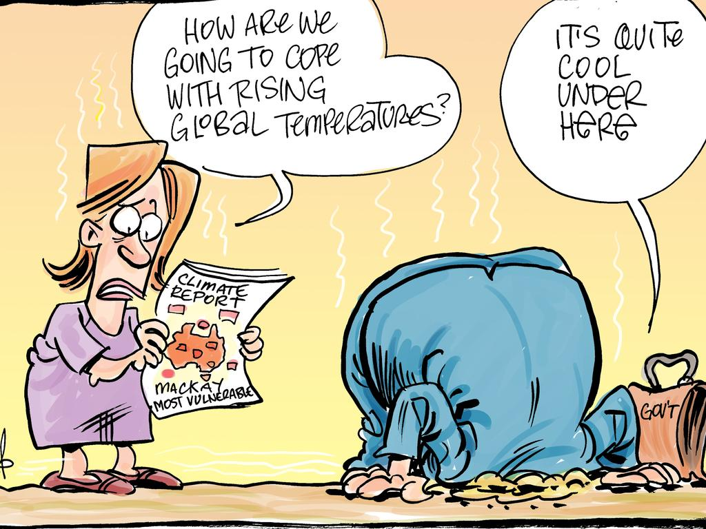Daily Mercury cartoonist Harry Bruce captures the debate over the risks to the Mackay region as a result of climate change.