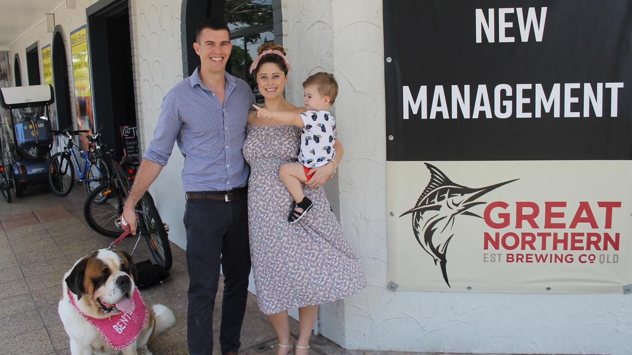 NEW OWNERS: Bentley the pooch, Jackson, Sarah and Harvey Quinn outside the Australian Hotel.