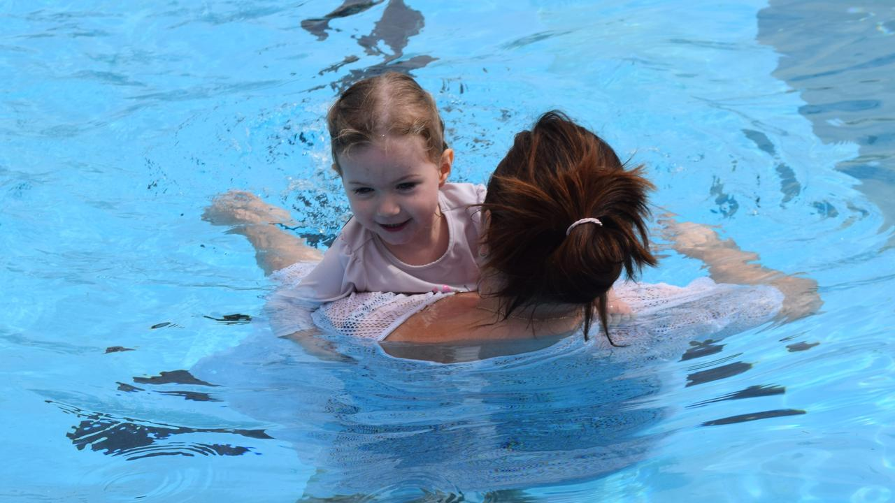 Hannah and her mum at mums and bubs swimming lessons 11/01/2020.