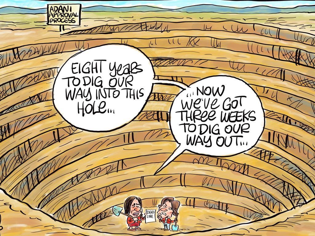 Harry Bruce's Daily Mercury cartoon on 2019's Adani approval process.