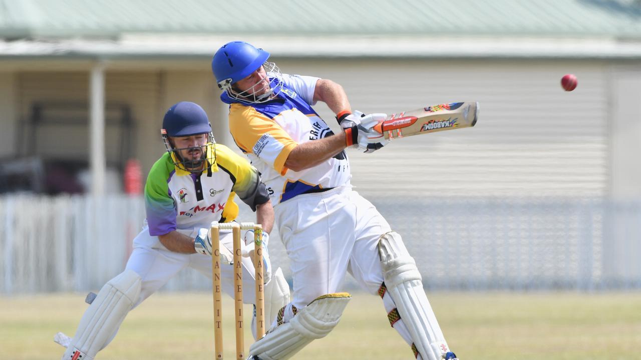 Cricket - Bushrangers Blue (batting) v Cavaliers (fielding) - Troy Ignatenko smashes the ball away on leg side.Photo: Alistair Brightman