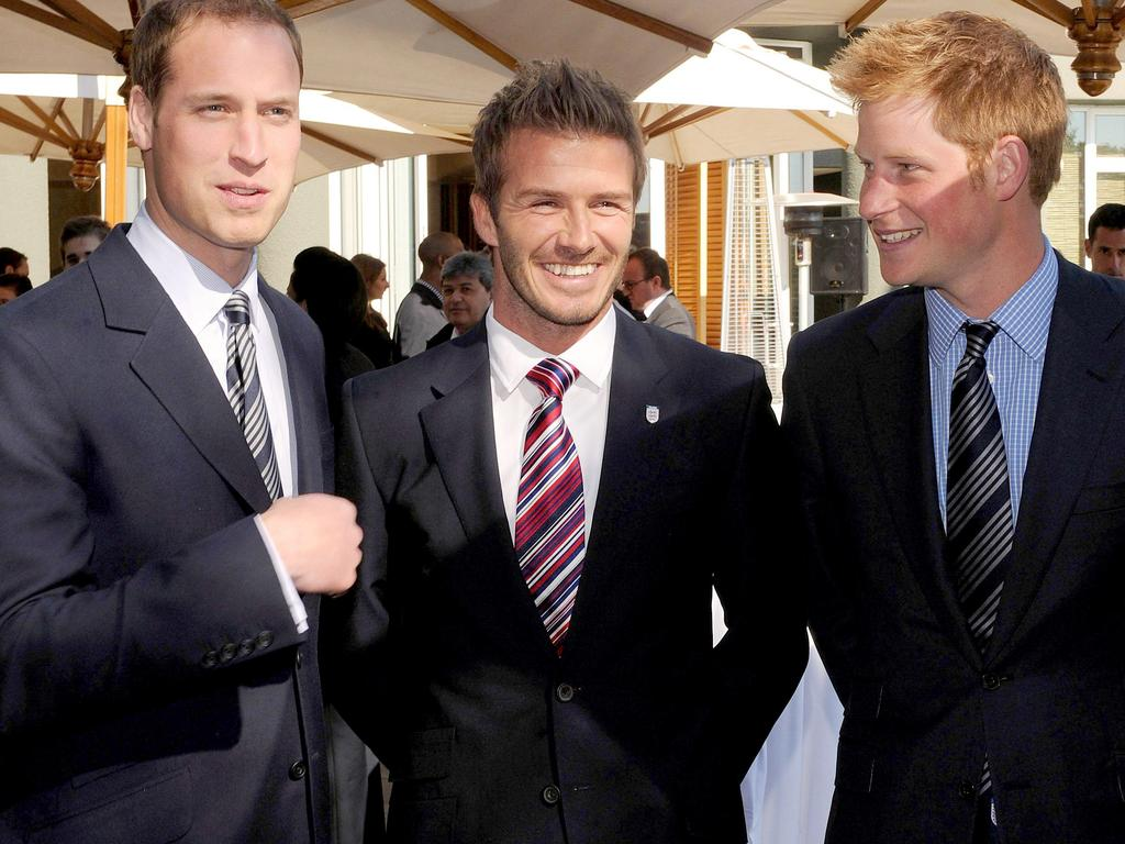 Prince William, Becks and Prince Harry in 2010. Picture: AP