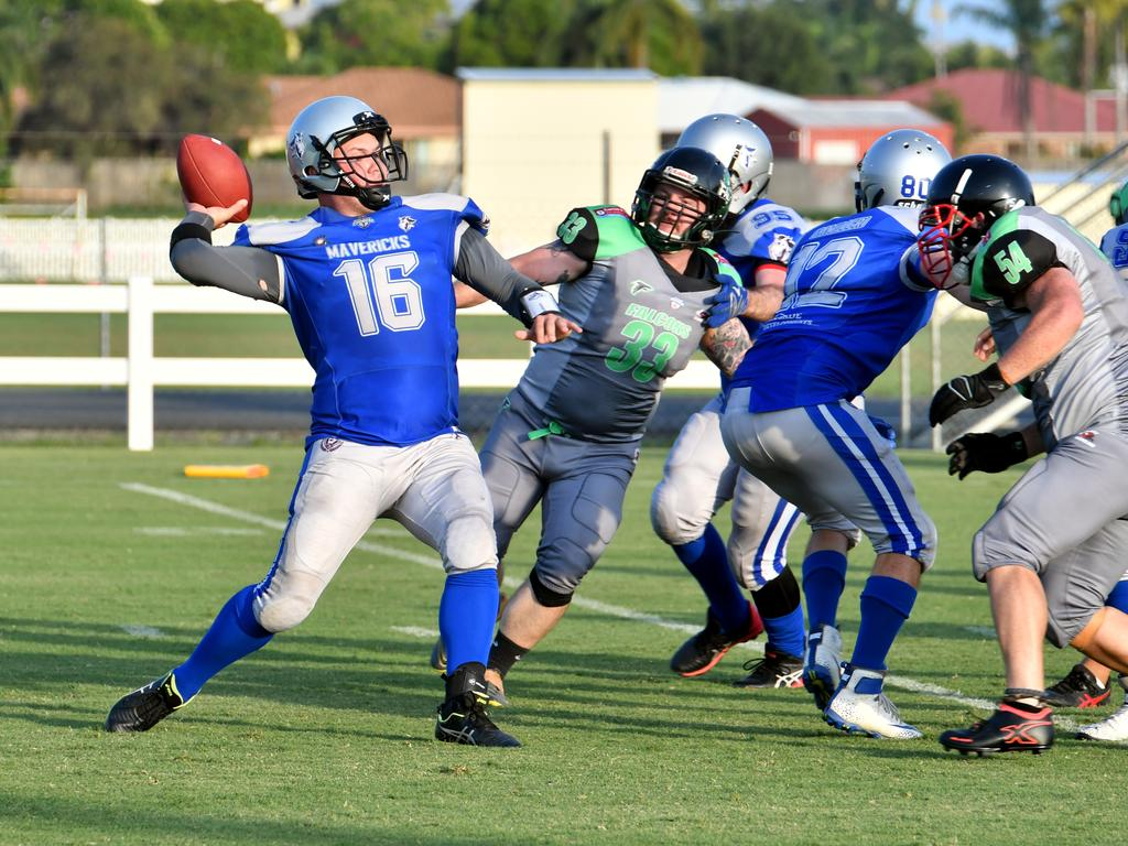 Mackay Mavericks quarterback Dylan Matthews looks to pass against Cairns. Picture: Tony Martin
