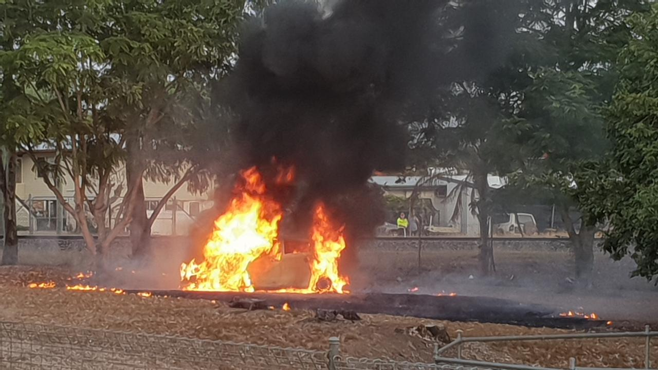 A Toyota Yaris was well alight when fire crews arrived on scene on Saturday afternoon.