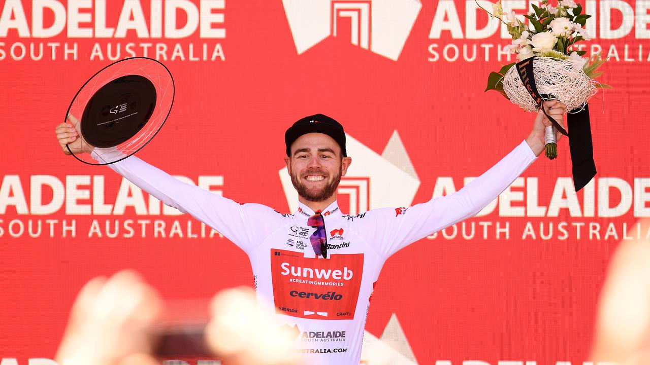 Chris Hamilton was sixth overall and won the white jersey as best young rider at the Santos Tour Down Under last year. Picture: Daniel Kalisz (Getty).