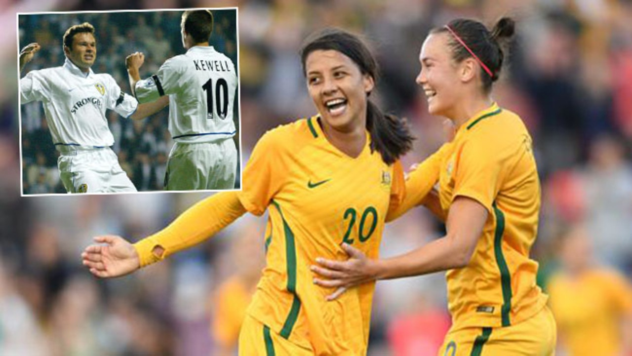 Sam Kerr and Caitlyn Foord will soon battle against each other in England, and (inset) Mark Viduka and Harry Kewell during their days at Leeds.