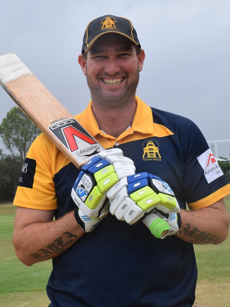 Gympie Gold XI - Batsman Steve Brady celebrates his unbeaten 153* against Caloundra on Saturday.