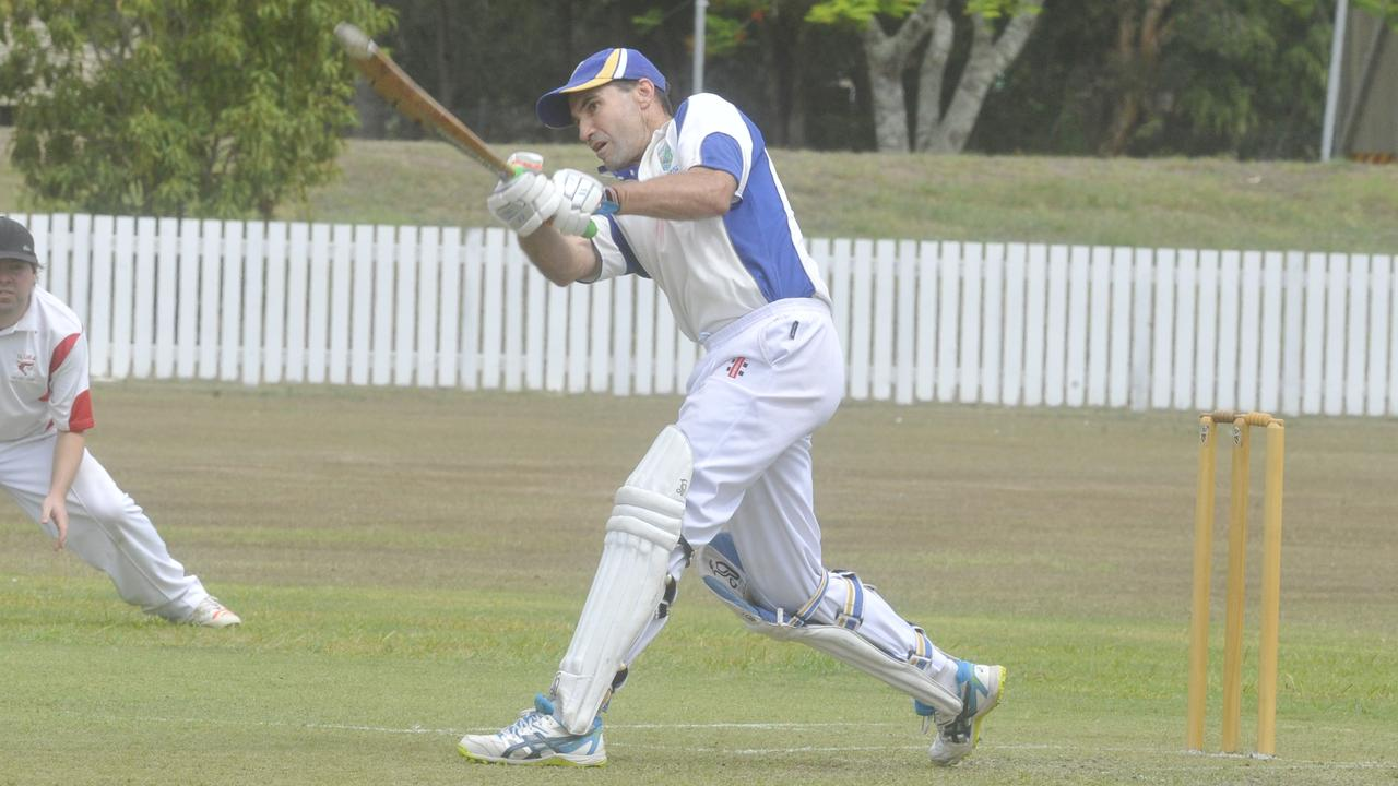 Harwood's Evan Lewis explodes at the crease during the LCCA first grade match between Harwood and Iluka at Harwood Oval.