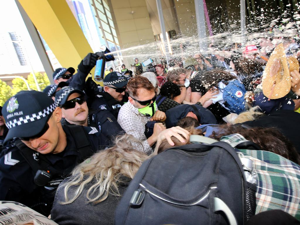 Police using capsicum spray on anti-mining protesters in 2019. Picture: Stuart McEvoy/The Australian.