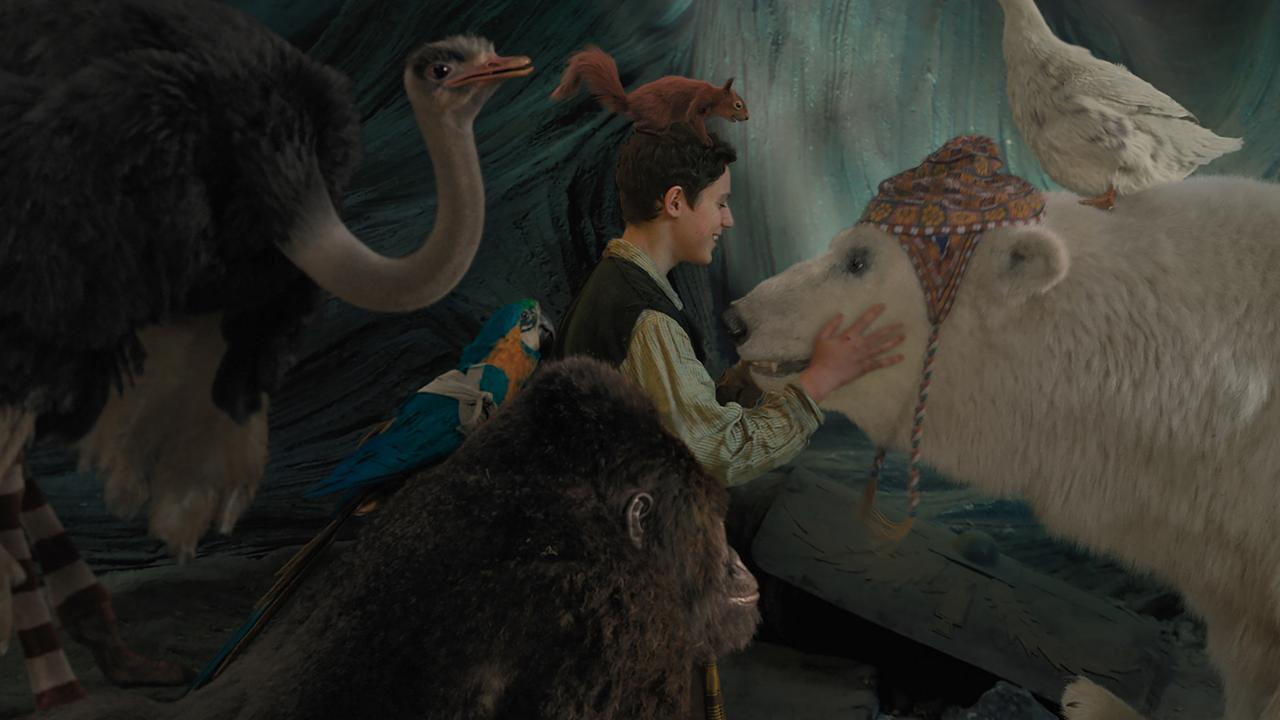 From left, Ostrich Plimpton (Kumail Nanjiani), parrot Polynesia (Emma Thompson), gorilla Chee-Chee (Rami Malek), Tommy Stubbins (Harry Collett), squirrel Kevin (Craig Robinson), polar bear Yoshi (John Cena) and duck Dab-Dab (Octavia Spencer) in a scene from the movie Dolittle. Supplied by Universal Pictures.