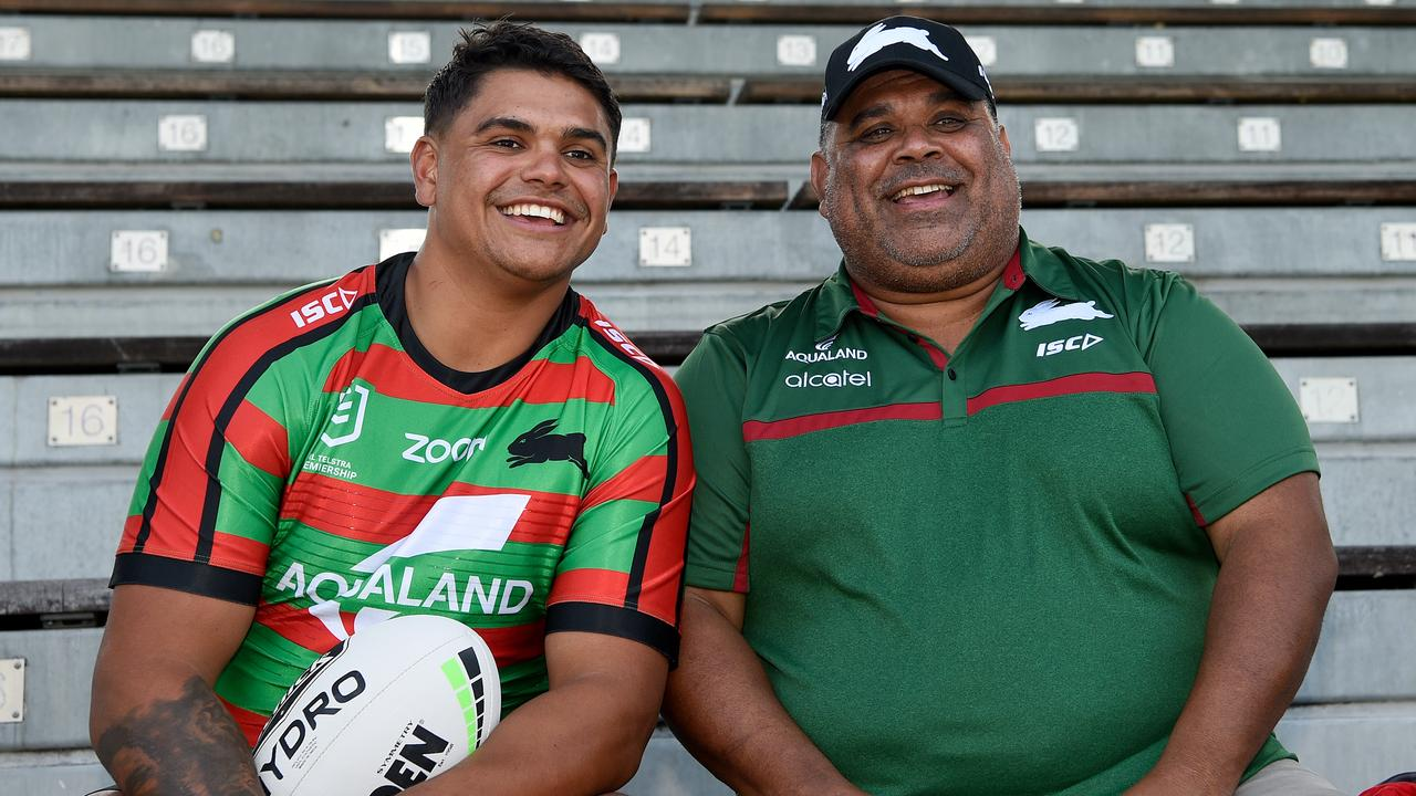 Latrell and his dad Matt Mitchell proudly wear South Sydney colours. Photo: AAP Image/Bianca De Marchi