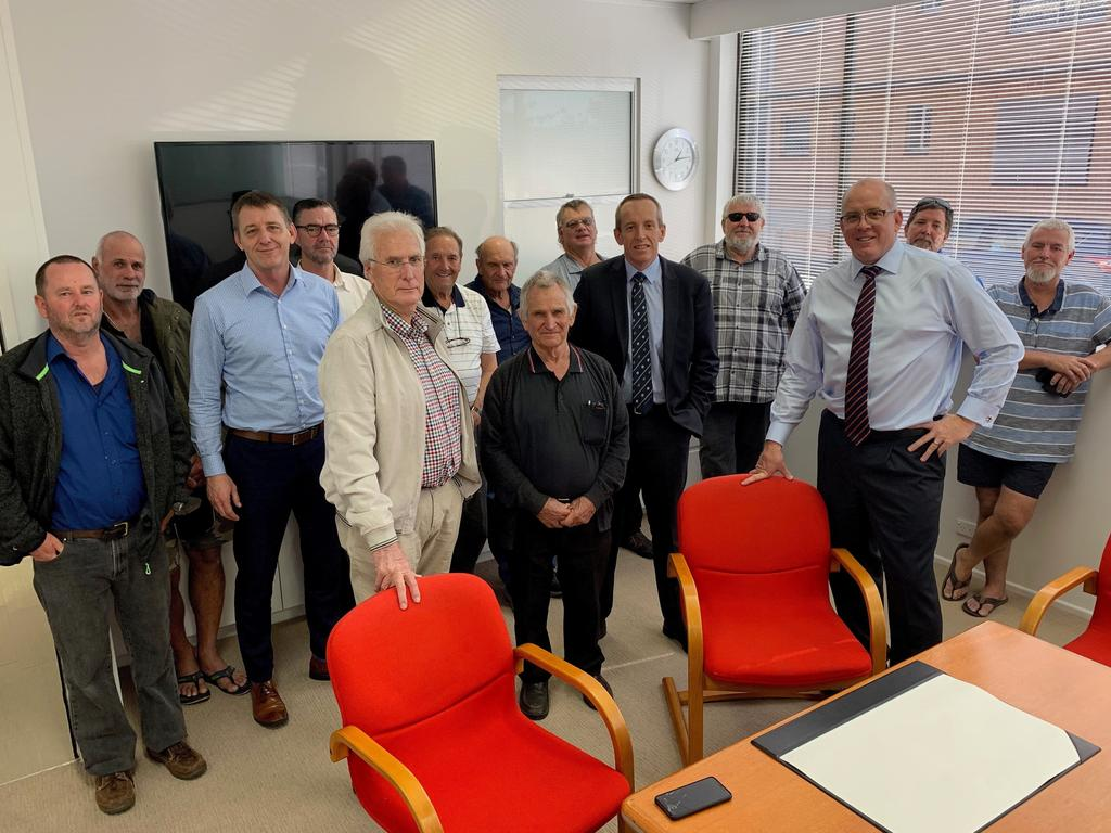 Gladstone Fish Market owner Ted Whittingham in the cream jacket and pants), Urangan Fisheries owner Nick Schulz with Law Essentials principle Chris Thompson and Clyde and Co partner Maurice Thompson with plaintiffs in the class action against Gladstone Ports Corporation.