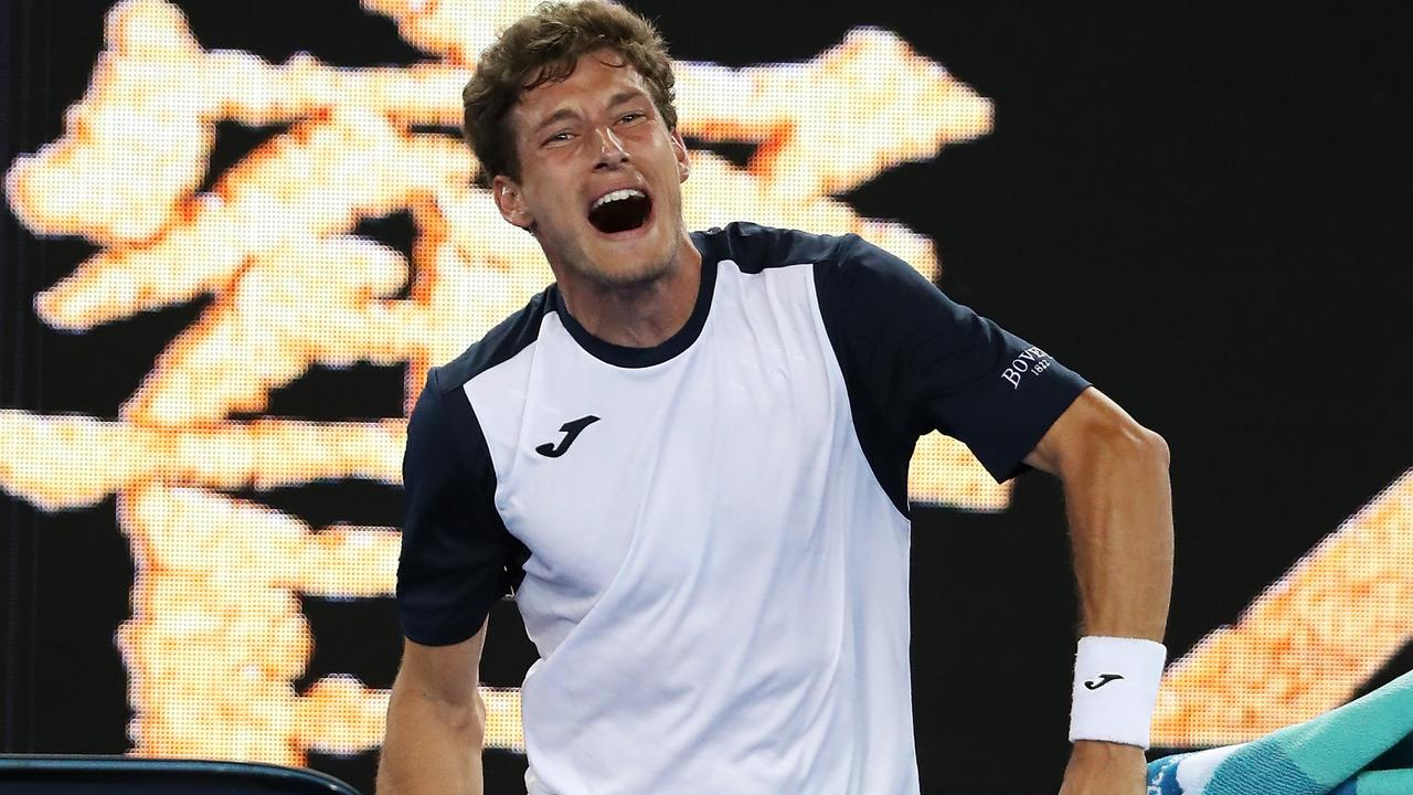 Pablo Carreno Busta breaks down as he leaves the court. Picture: Getty Images