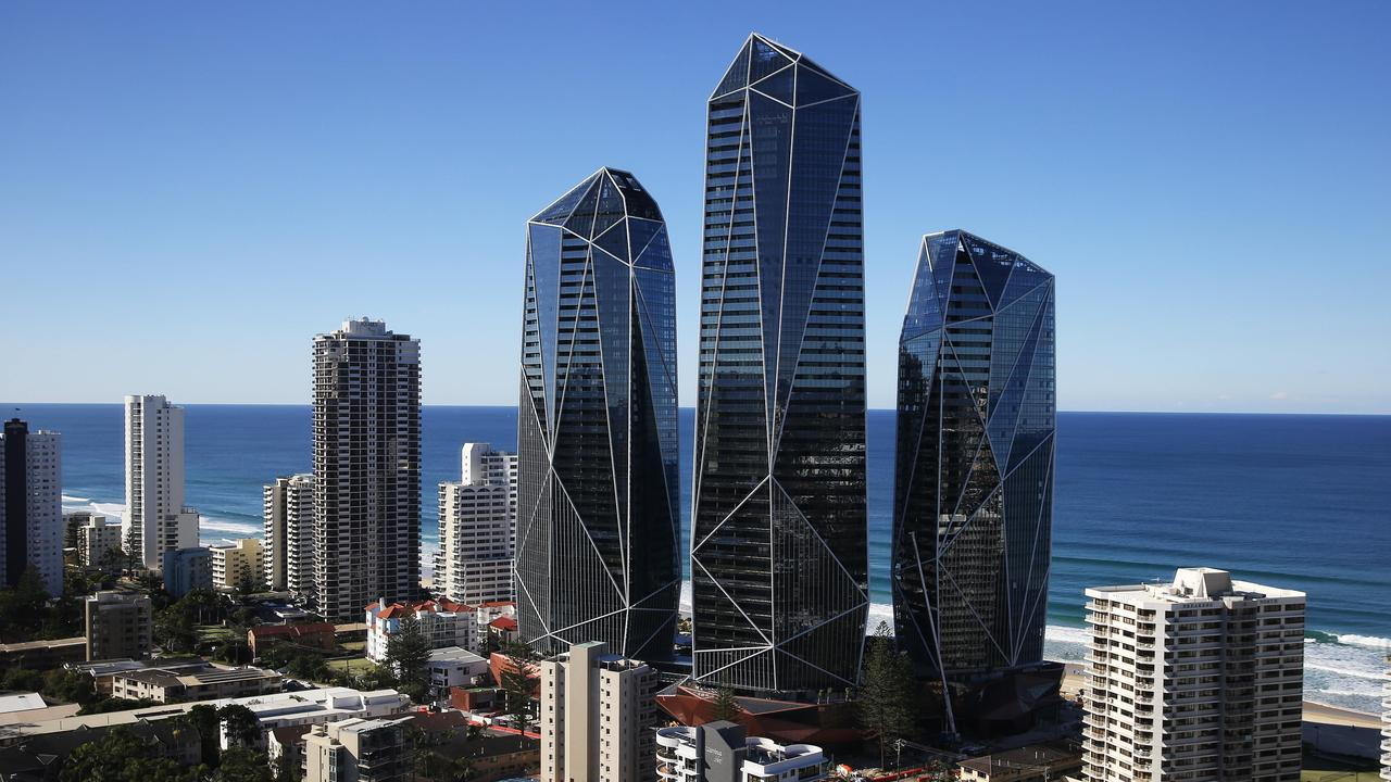 The finishing touches are being applied as Jewel nears its completion on the Gold Coast — but who owns the towers? Picture Glenn Hampson