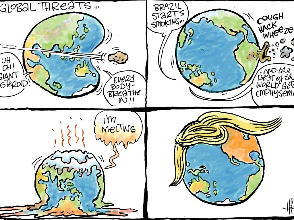 Daily Mercury cartoonist Harry Bruce on the threats to the world in 2019.
