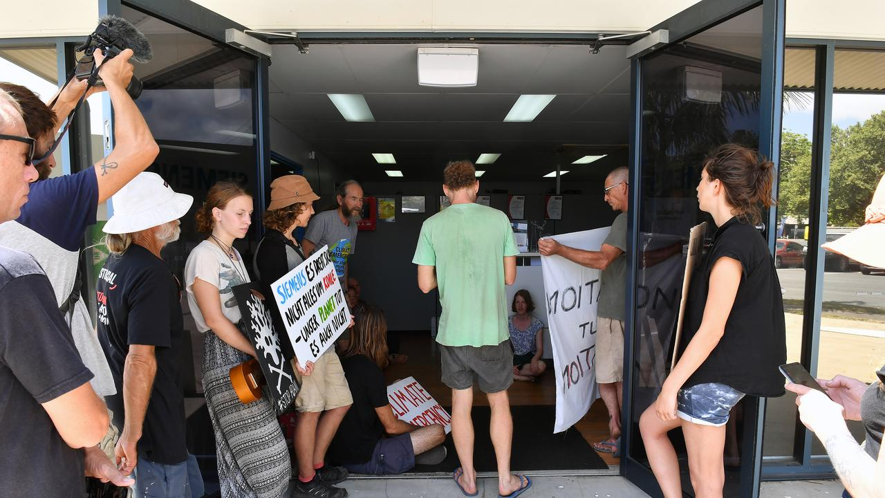 Stop Adani protesters at Siemens' Mackay office.