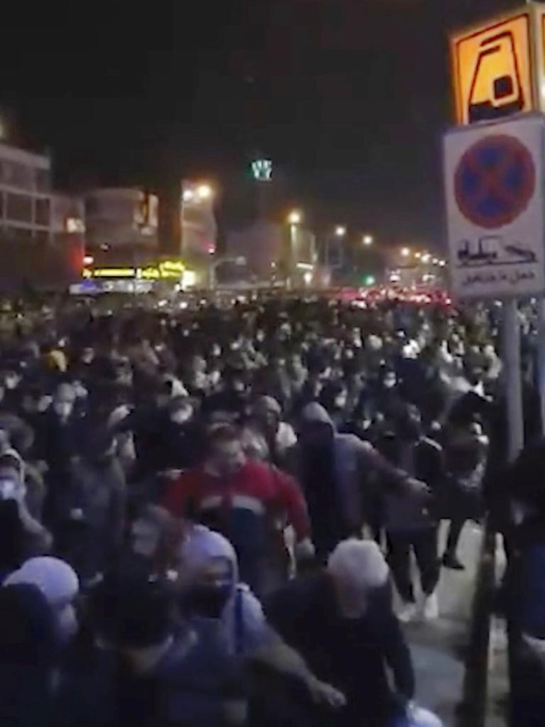 Video shows a crowd fleeing police near Azadi, or Freedom, Square in Tehran. Picture: Center for Human Rights in Iran