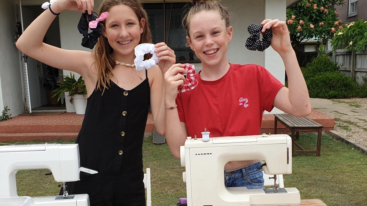 FASHION GURUS: Zoe, 13 (left), and Coco, 12, sold handmade scrunchies at Lennox Head.