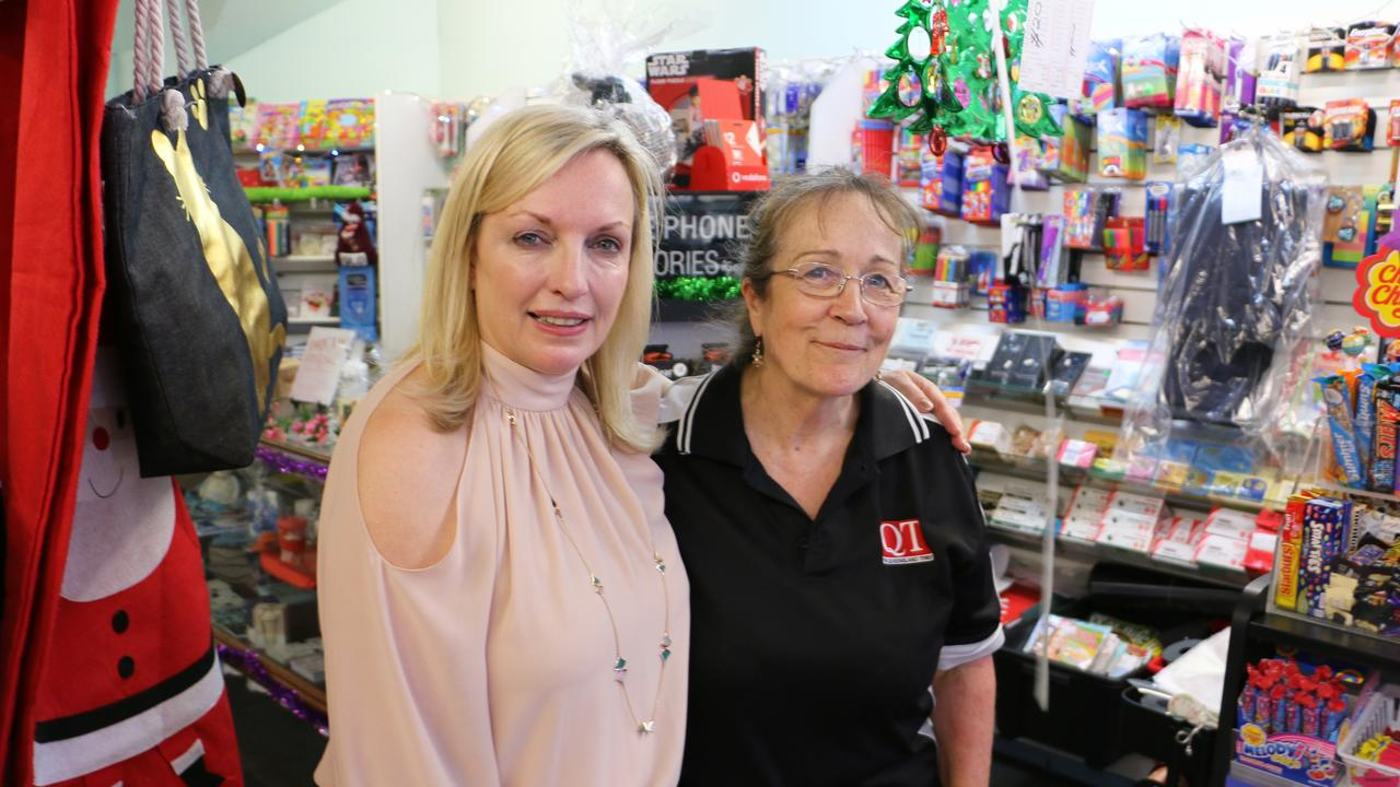 Australia Post CEO Christine Holgate with Ipswich City Mall Newsagent Pauline Williamson, who operates a Community Postal Agency from the premises.