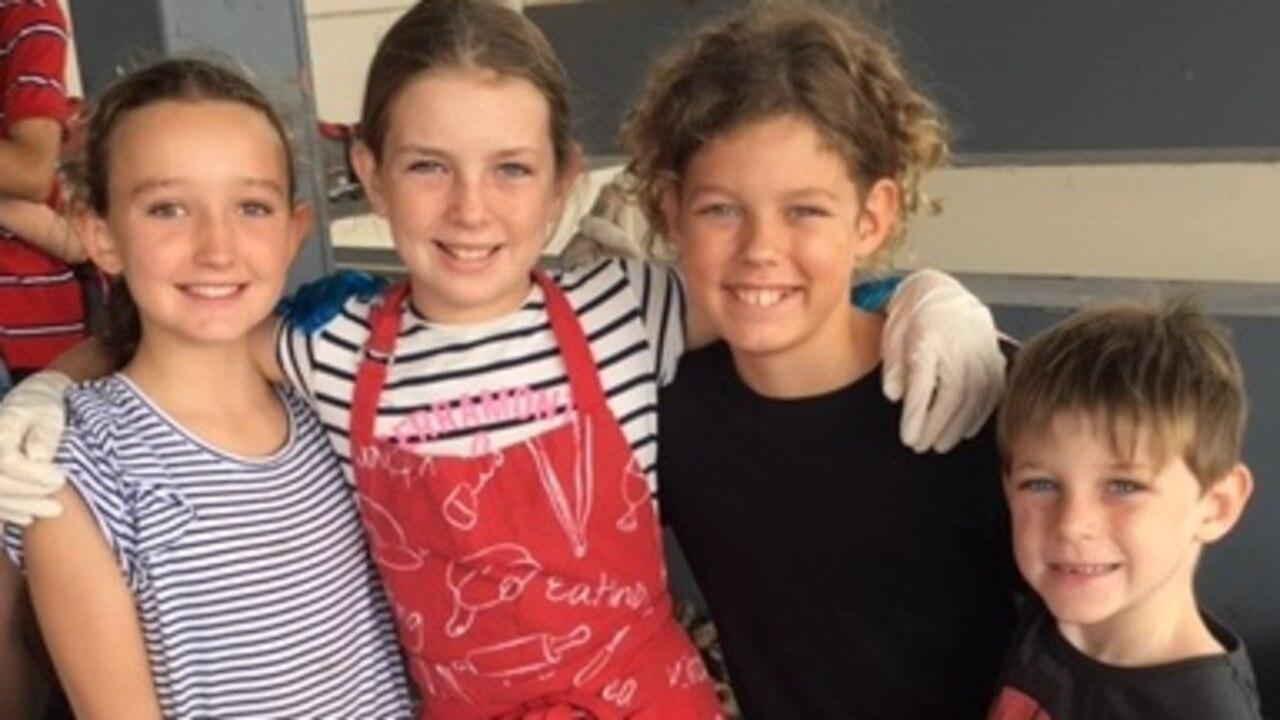 Daisy Thorne, Chloe Nichol. Archie Bailey and Rhys Nichol at the weekend bushfire fundraiser.