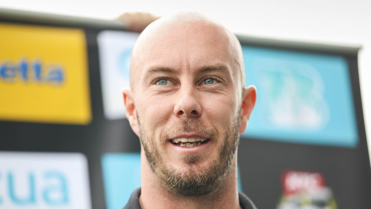Heat captain Chris Lynn speaks to media at Allan Border Field, Brisbane, Monday, January 13, 2020. Picture: AAP Image/Glenn Hunt