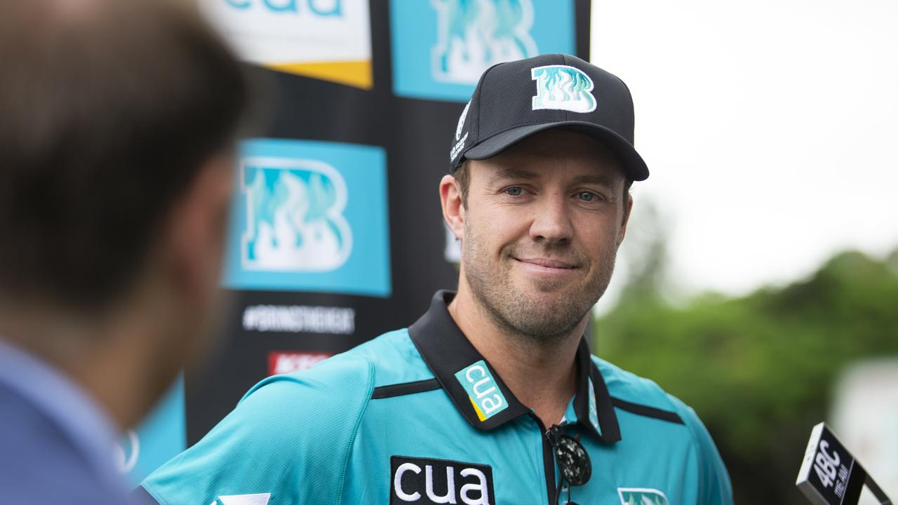New Brisbane Heat Import AB De Villiers talks to media after touching down in Brisbane ready to take on the BBL. Photo Lachie Millard