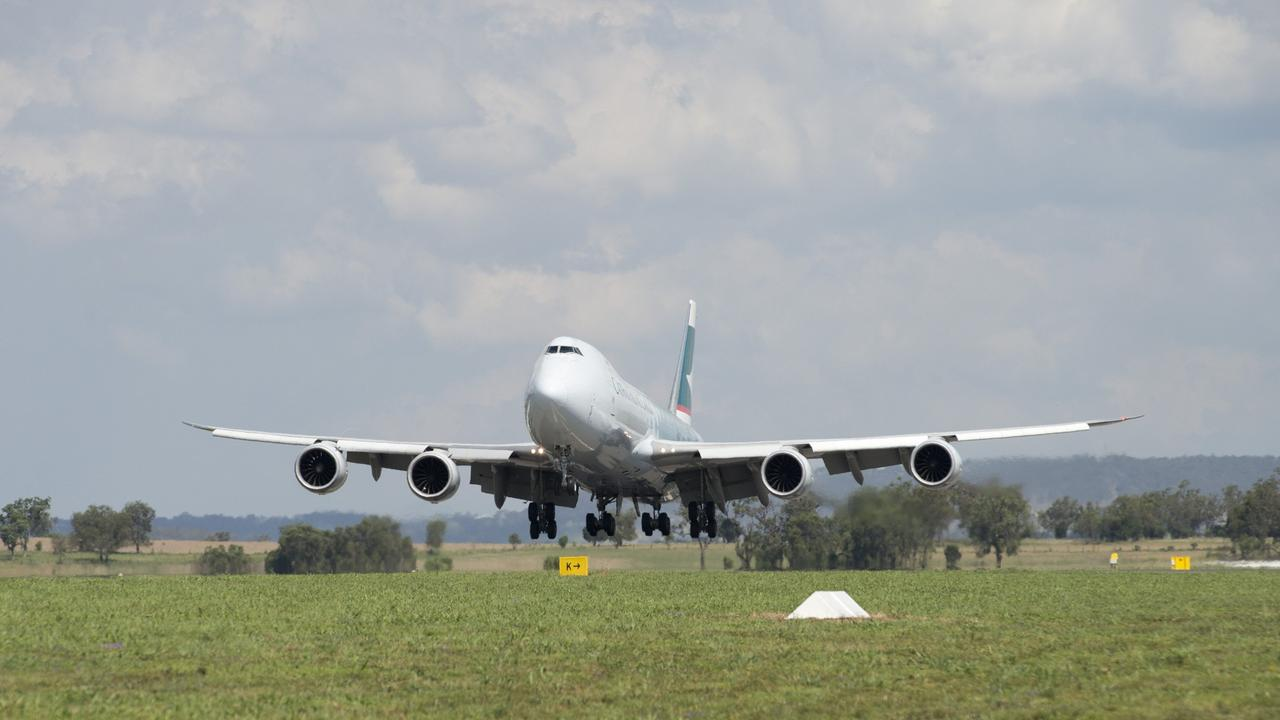 Cathay Pacific 747-8 jumbo cargo plane flys into Wellcamp Airport bound for Hong Kong, Monday, November 23, 2015. Photo Kevin Farmer / The Chronicle