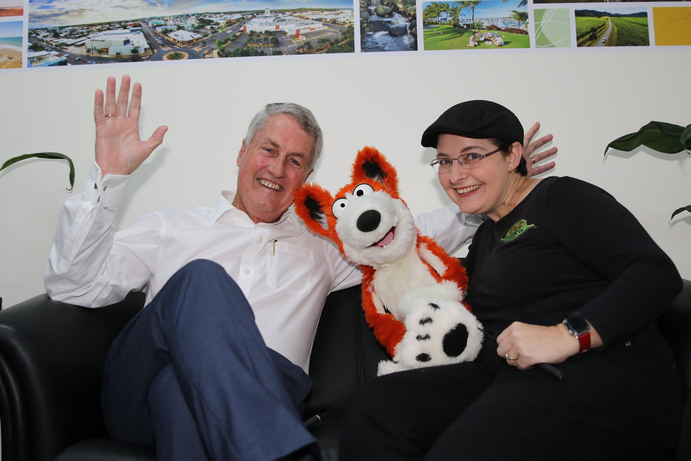 Mayor Greg Williamson with Ros Campbell and puppet Dingo.