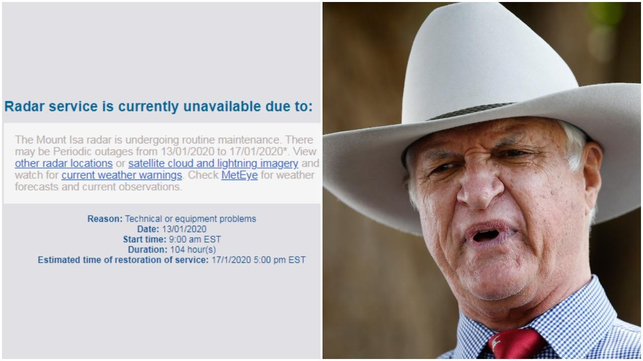 Bob Katter is firing up over the outage of two important weather radars in north west Queensland.
