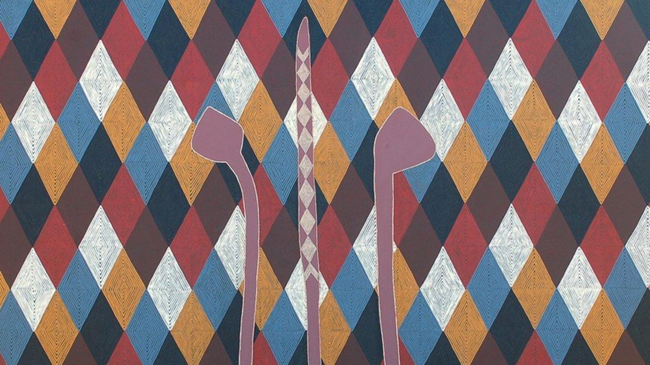 SAD NEWS: it was announced this morning that proud Bundjalung artist, Digby Moran, passed away yesterday. Pictured is his work titled Bundjalung Boondies..