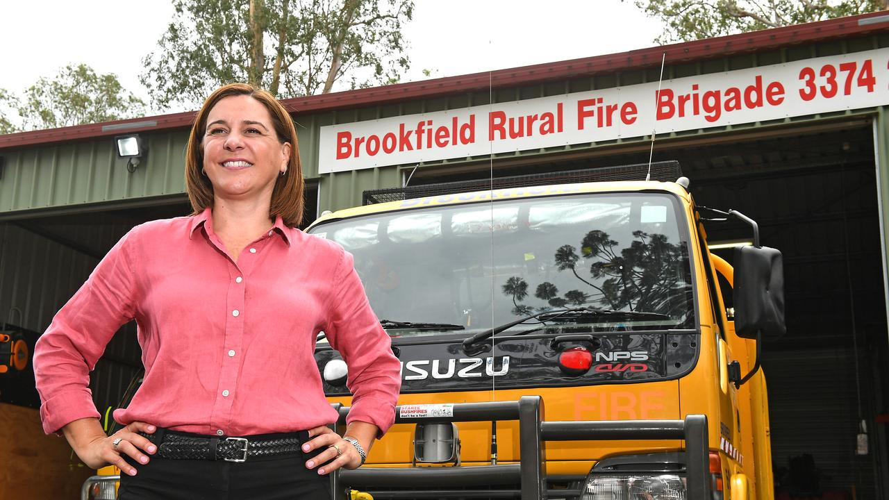 LNP leader Deb Frecklington launching a 10-point bushfire plan at Brookfield Rural Fire Brigade. Picture: AAP/John Gass