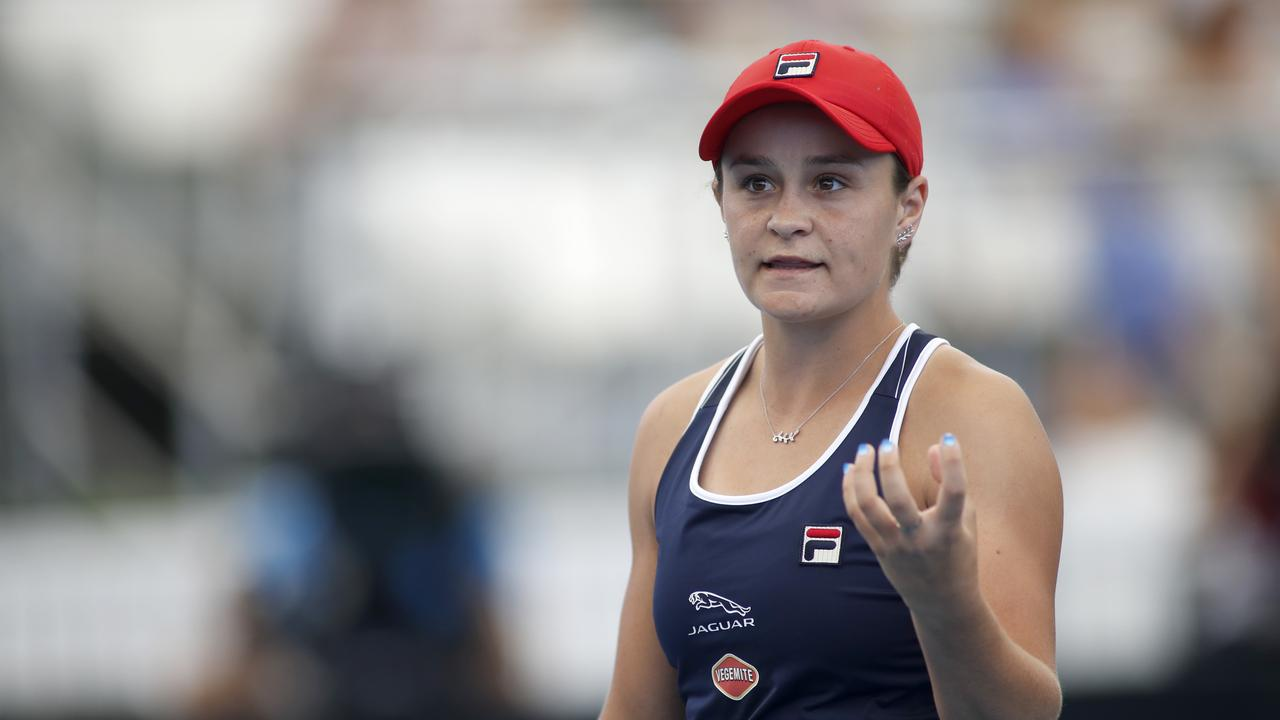 Ashleigh Barty of Australia reacts after loosing a game against Anastasia Pavlyuchenkova of Russia during day 3 of the Adelaide International tennis tournament atMemorial Drive Tennis Centre inAdelaide, Tuesday, January 14, 2020. (AAP Image/Kelly Barnes) NO ARCHIVING, EDITORIAL USE ONLY