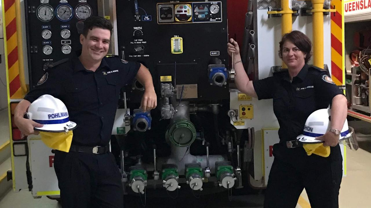 FIREFIGHTING: Auxiliary firefighters Mitchell Pohlmann and Fran Punshon. Ms Punshon has told of how difficult it is to watch the fires burning around the country at the moment after battling a blaze near Coffs Harbour late last year.