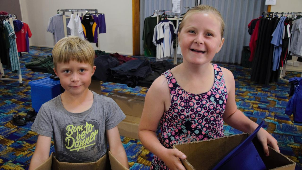 Kobie and Ellie-May Light shopping for their back to school supplies at the School Savvy Pop-up Shop.