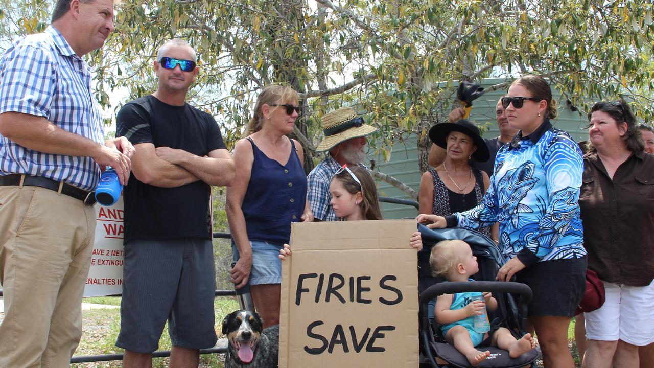 Members of the community with Member for Burnett Stephen Bennett (left) are recently gathered to call for the for urgent reinstatement of the Captain Creek Rural Fire Brigade.