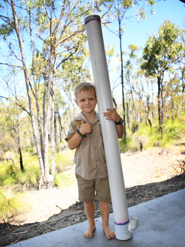 Owen Harris is making water stations to give water to wildlife.