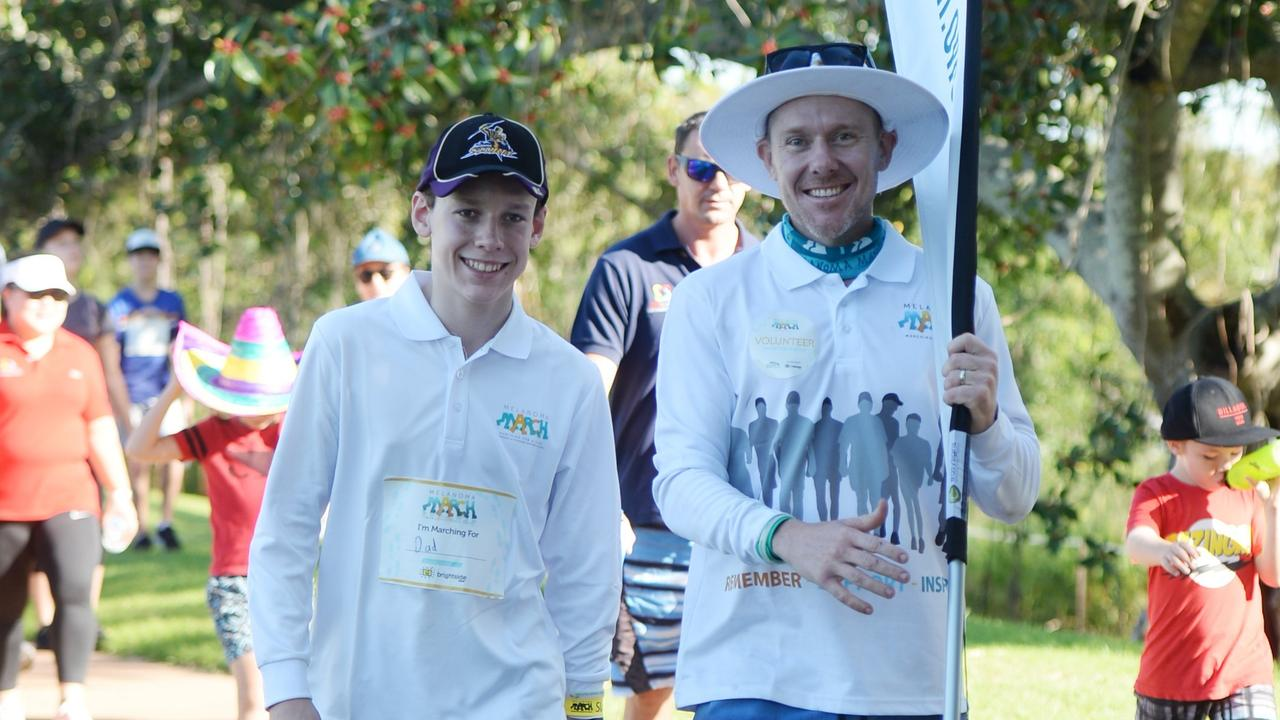 Jack and Aaron Kelly take part in the Rockhampton Melanoma March.