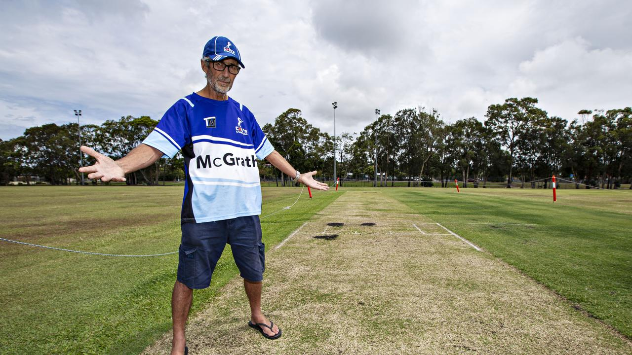 President Peter Mitchell of South Tweed Heads Colts Junior Cricket Club angry the pitch covers have been stolen. Photo: MEL BELANIC