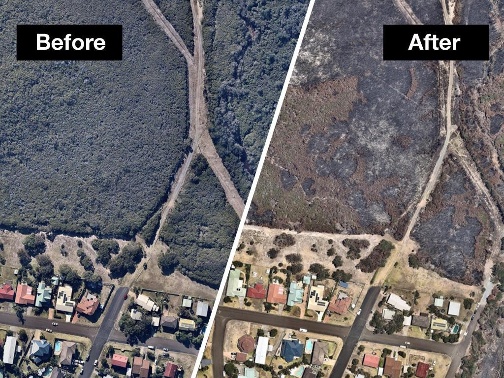 Before and after drone shots show Australia's bushfire devastation.